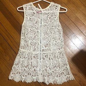 CABI Lace Shell XS- zips in the back